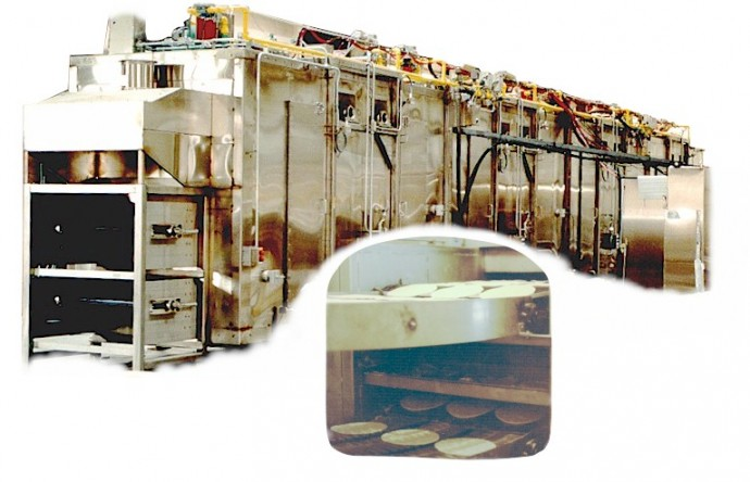 continuous pizza crust baking ovens for the packaged frozen food industry